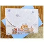 Invitatie de botez cu trenulet albastra 15309